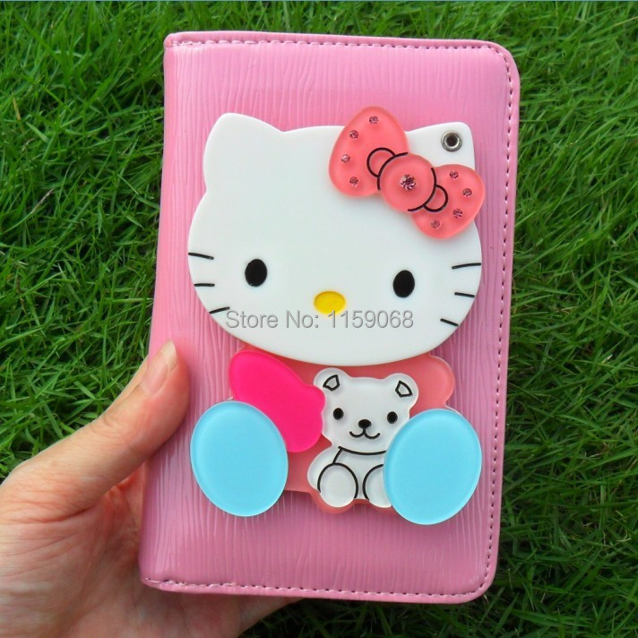 Wholesale New women wallets Super cute HELLO KITTY fashion stereo mirror long bi-fold wallet coin purse in stock(China (Mainland))
