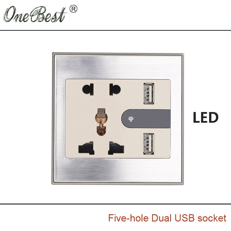 International General 86 Type 5-hole Wall Socket With LED AC 110-250V Two USB 5V 2100mA Champagne Wire Drawing Outlet Hot sale(China (Mainland))