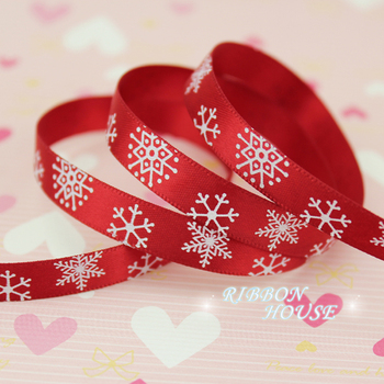 """(5 yards/lot) 3/8"""" (10mm) Red printed Snowflake Satin Ribbon christmas gift ribbons"""