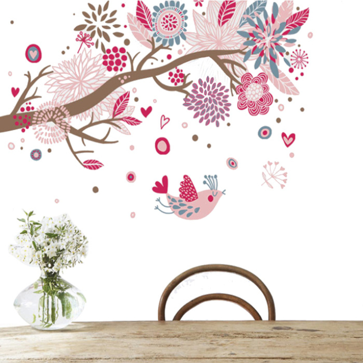 New Arrival DIY wall art Decals Little Birds Colorful Scroll Tree Wall Stickers Removable PVC Flower Decal Home Decor 1 Pcs(China (Mainland))