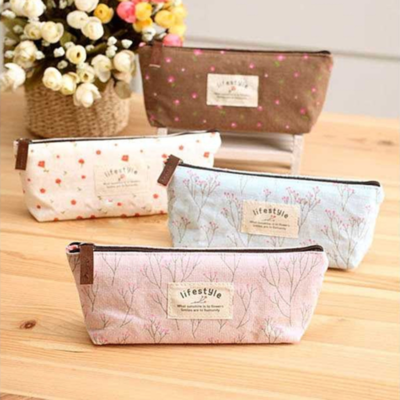 New creative stationery school supplies Pupils prize gift Fashion large capacity pencil case Canvas pencil case stationery bags