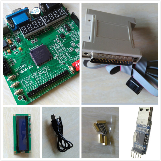 Free shipping LCD1602+xilinx fpga development board spartan6 xilinx board xilinx xc6slx9-tqg144 fpga development board(China (Mainland))