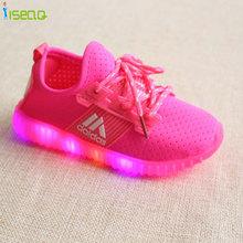 0-9Y Дети Девушки СВЕТОДИОДНЫЕ Светящиеся Кроссовки Дети Спорт Shoes Girl PU Вскользь Ботинки для Весна Осень Резиновые Кнопки EUR 21-36(China (Mainland))