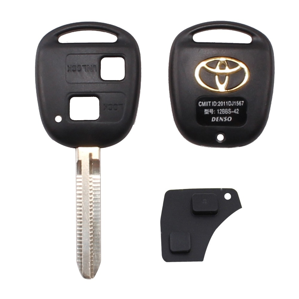 Portable Toyota 2 Button Car Remote Key Shell Case Replacement For Corolla / RAV4 / Prado / Yaris / Camry + Button Pad(China (Mainland))