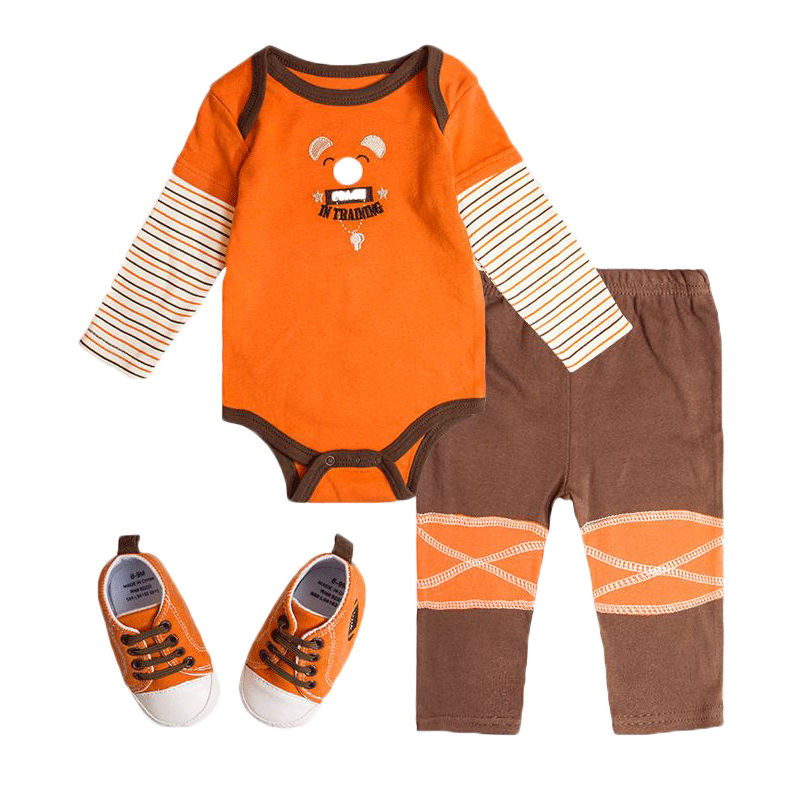 High Quality Baby Boy Clothing Set 3pcs Suits Bodysuit+Pants+Shoes Cotton Winter Newborn Girls Boys Clothes Sets(China (Mainland))