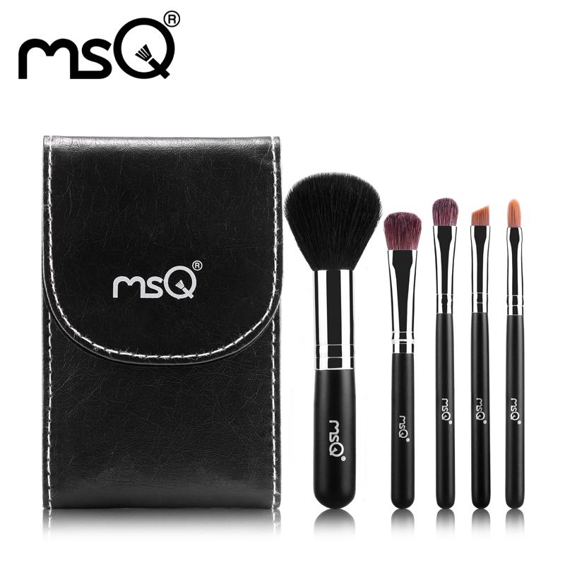 MSQ Brand New Arrival 5pcs/set Animal hair Makeup Brush Set Cosmetics makeup Pincel Maquiagem With PU Leather Mirror Makeup Kit(China (Mainland))