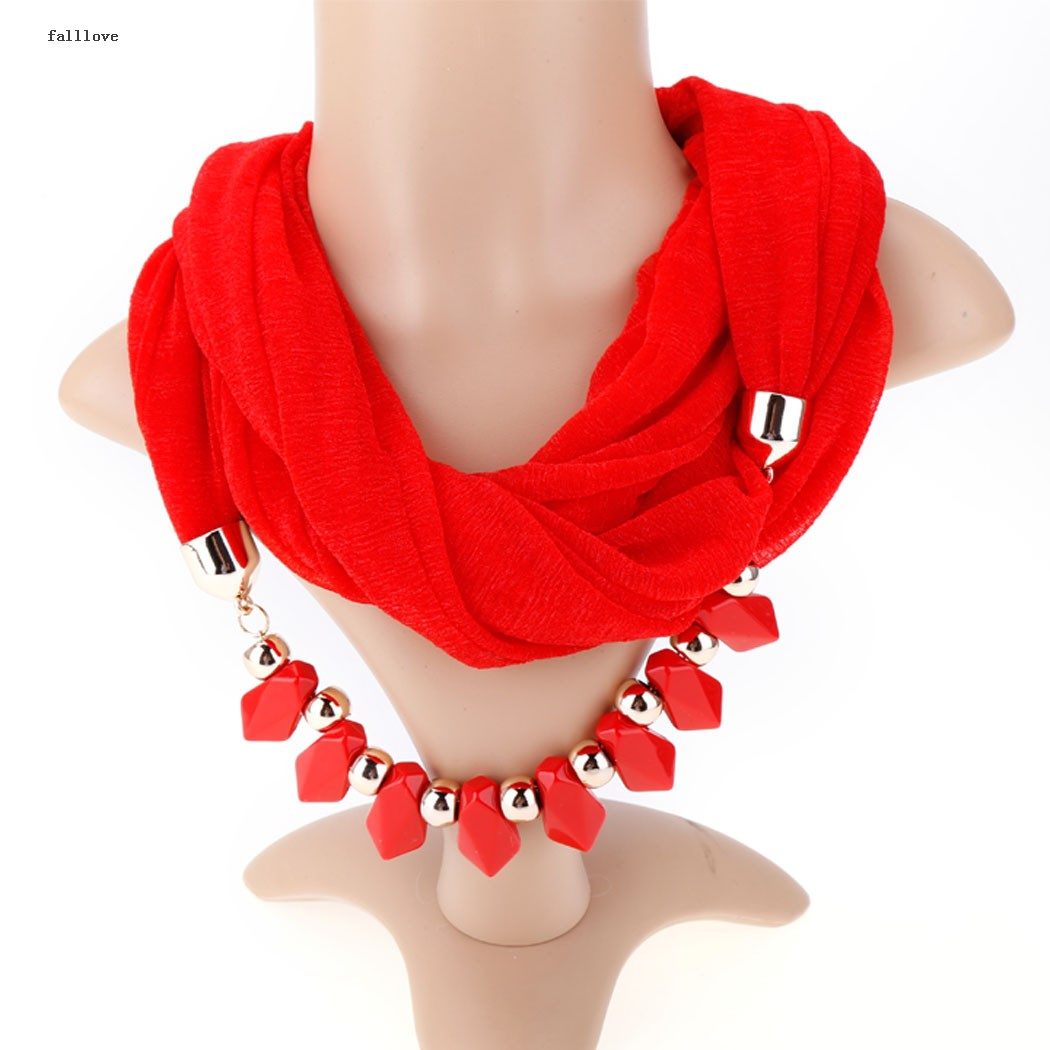 Free shipping Wholesale New 3 Colors Women Spring Scarf Jewelry Necklace Scarf Scarves Pendant Beads Scarves 10(China (Mainland))