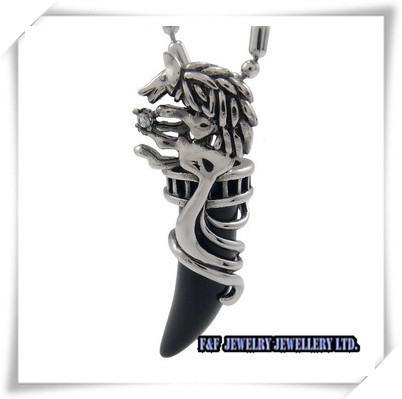 Men's Silver Black Onyx Tooth Stainless Steel Pendant 21 inch Chain Necklace ,,P#166 - FUNFUN store