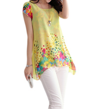 Summer 2015  Plus Size Women Chiffon Blouses Floral Print Blouse Hollow Out Overlay Petal Sleeves Tops For Summer M L XL XXL(China (Mainland))
