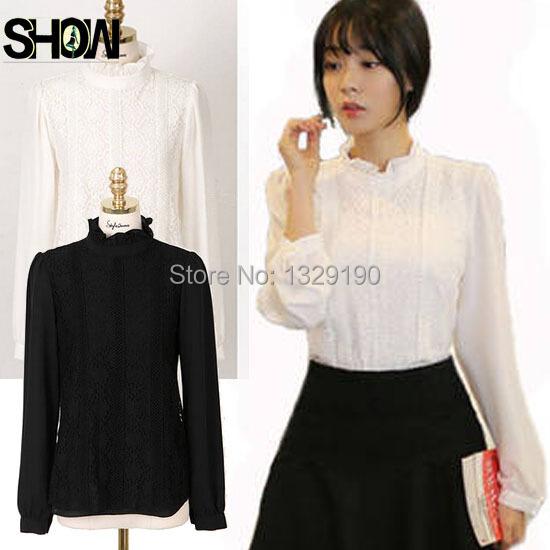 New Arrival Autumn/Winter Basic Bodysuit Shirt Women Elegant Long Sleeve Floral White Lace Office Turtleneck Lace Top XXL 5557(China (Mainland))
