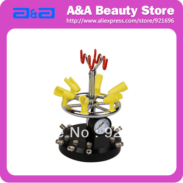 Multifunctional Airbrush Holder Support 6 Airbrushes with Pressure Gauge and Air Regulator