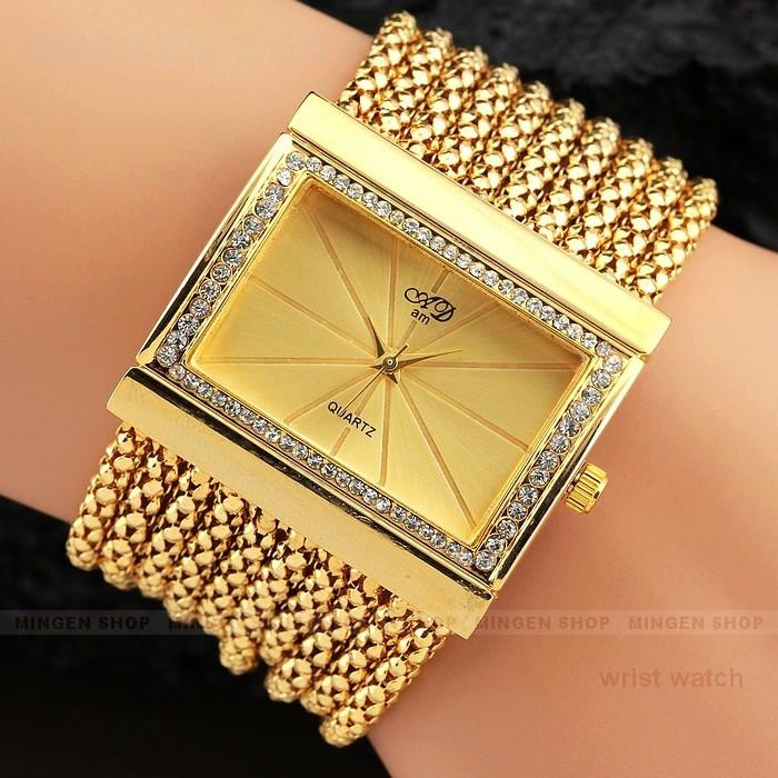 Luxury Fashion Women Lady Silver Gold Steel Case Rhinestone Crystal Beaded tassel Band Party Dinner Bracelets Quartz watch - fashion store