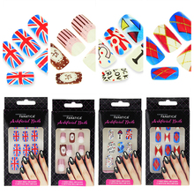 4*12Pcs/Set French Fake Nails With Nail Art Glue Flag Alphabet Grid Design Artificial Fingernails 3D False Full Nail Tips BNT005(China (Mainland))