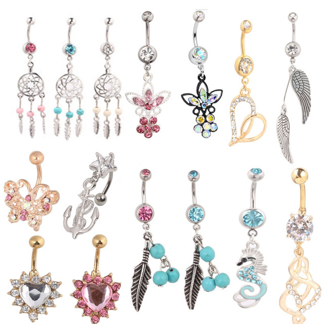 Wholesale mix styles 14ps lot belly button ring 316l steel for Types of body jewelry rings