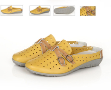 New summer shoes hollow inside cool mesh sequined slippers Baotou increased Peas shoes flat sandals and a half