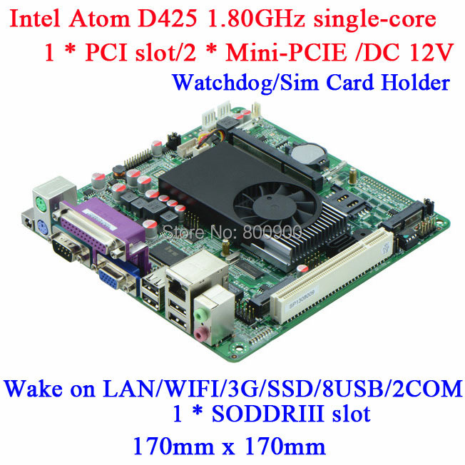 Atom D425 1.8Ghz mini itx motherboard 12V DC POS M58_D42 DDR3 18bit LVDS 2RS232 synchronous asynchronous display Wake on LAN PXE(China (Mainland))