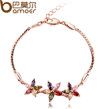 High Quality Fashion 18K Rose Gold Plated Zircon Star Bracelet for Women AAA Crystal Multicolor Best Christmas Gift JIB002