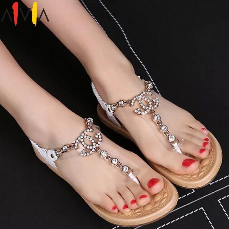 women sandals 2015 new summer female channel rhinestone comfortable flats flip fashion gladiator sandals black white shoes(China (Mainland))
