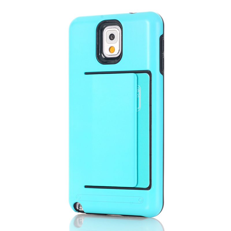 Armor Slide Credit Card Case For Samsung Galaxy Note 3 N9000 N9005 Case Slot ID Layer Shock Proof Hard Cover Shell
