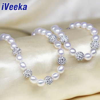 iVeeka jewelry sets natural freshwater pearl necklace bracelets with shambala beads 7~8mm rice fresh water pearl wedding jewelry