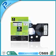 Free shipping 6mm*7m Black on White Label Tape Cartridge Compatible for DYMO label printer D1 43613