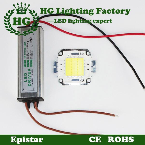 One 10W 20W 30W 50W 100W=120W COB High Power RGB LED chip led flood light chip + One LED power supply Led floodlight driver(China (Mainland))