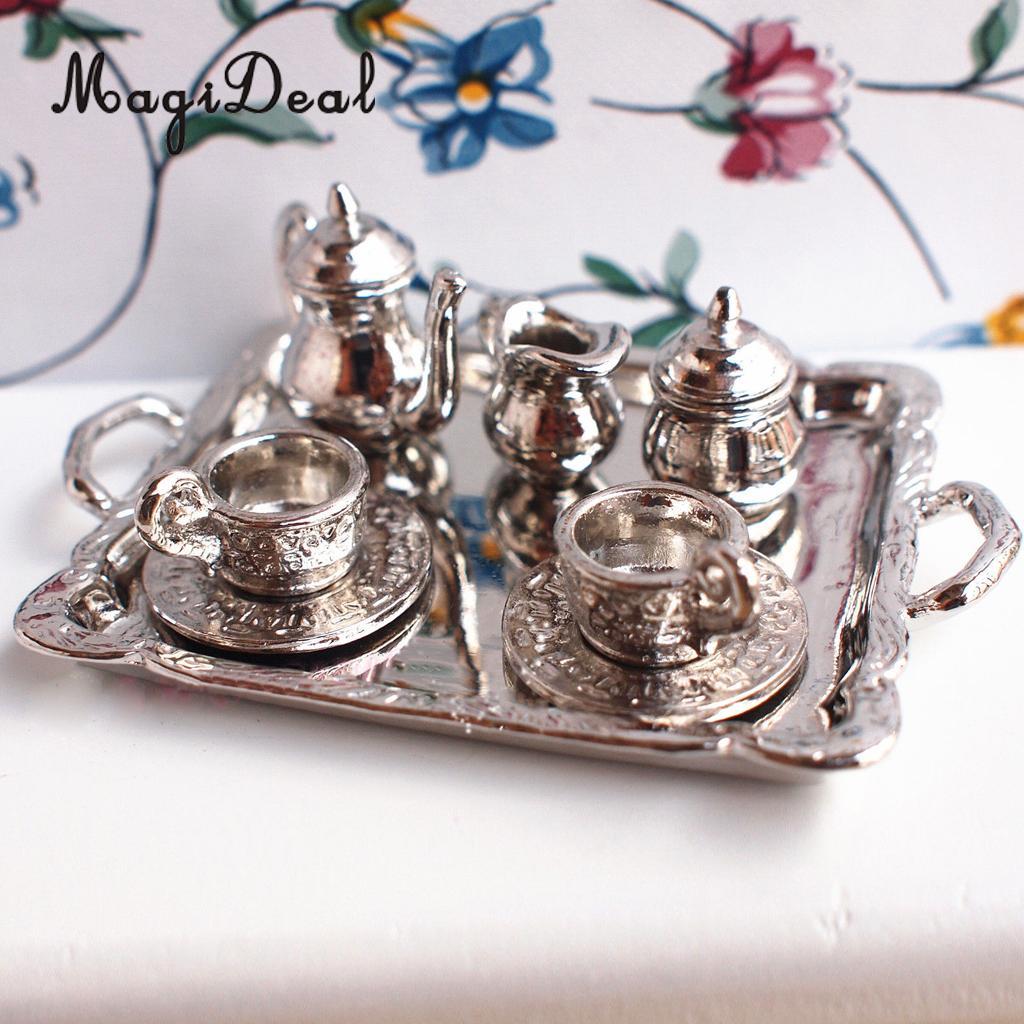 50pcs Dollhouse Miniature Dining Room Porcelain Tea Set Dish Cup Pink Daisy