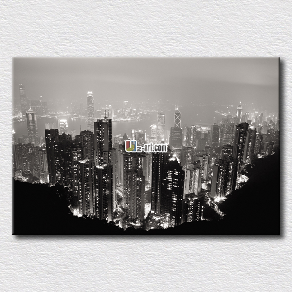 Beautiful city night pictures photo printed on canvas paintings for office room wall decoration(China (Mainland))