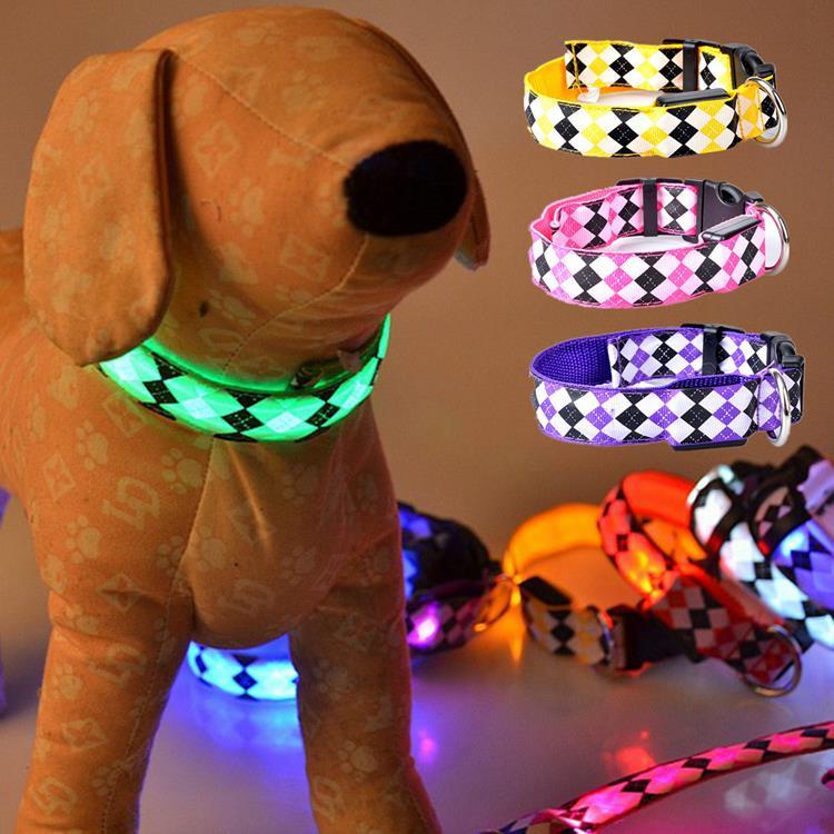 New Fashion LED Light-up Pet Dog Collar Night Safety Nylon Electric Diamond glow collar Pets Cat & Dog Luminous Collar 8 Color(China (Mainland))