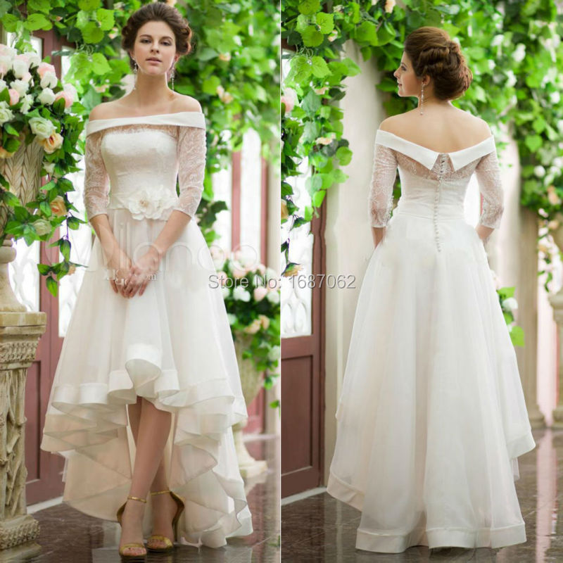 Vintage 2015 new hi low lace wedding dresses off the for Lace off the shoulder wedding dresses
