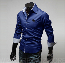 2015 brand new men shirt camisa social masculina casual slim fit mens dress shirts camisas chemise homme plus size M-4XL tops(China (Mainland))