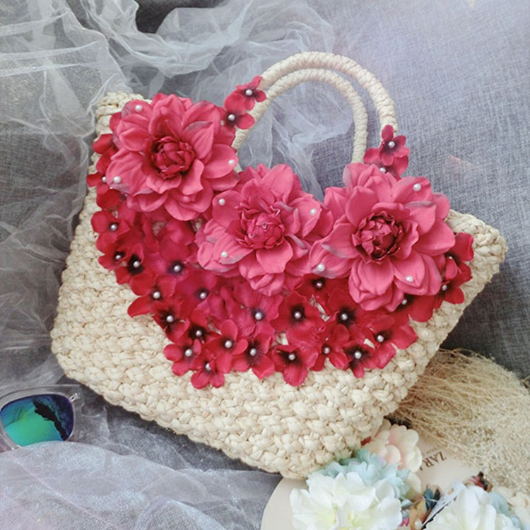 Promotion!!Women Bags Big Flower Good Quality Shoulder Handbags Straw Woven Female Summer Casual Travel Beach Bags(China (Mainland))