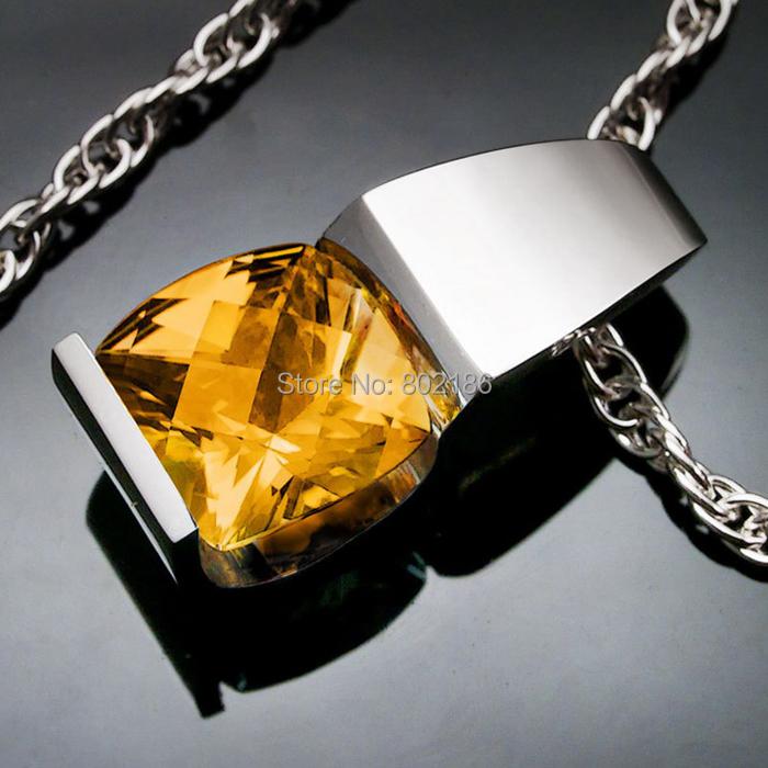 Citrine necklace - Wednesday birthstone Necklaces silver - wedding eco-friendly charms yellow rhinestone jewelry(China (Mainland))