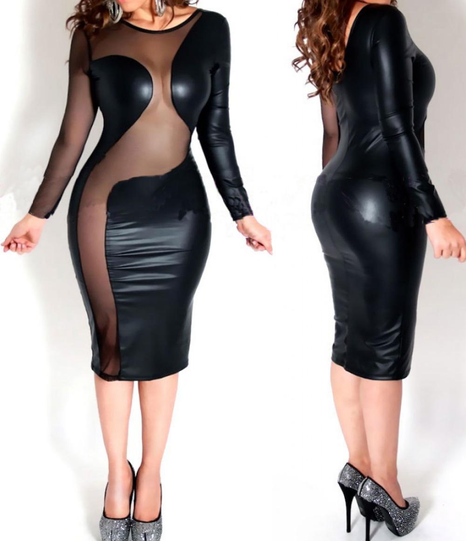 длиные платьи с кожаным рукавами тайные
