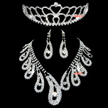 free shipping Gorgeous bride bling rhinestone necklace marriage accessories jewelry accessories set tl0201(China (Mainland))