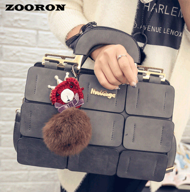 Bag the new spring/summer 2016 women bag suture Boston bag inclined shoulder bag women leather hadbags