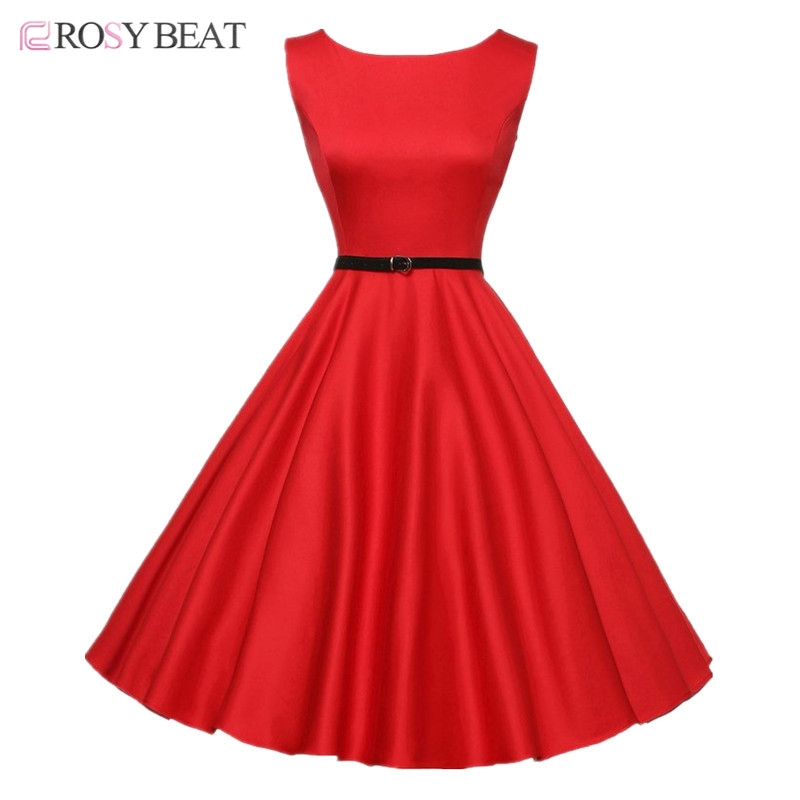 Rosybeat 50s Black Red Dresses Vintage Audrey Hepburn Plus Size Dress Women Summer Vestidos Party Ball Gown Floral Print Dress(China (Mainland))