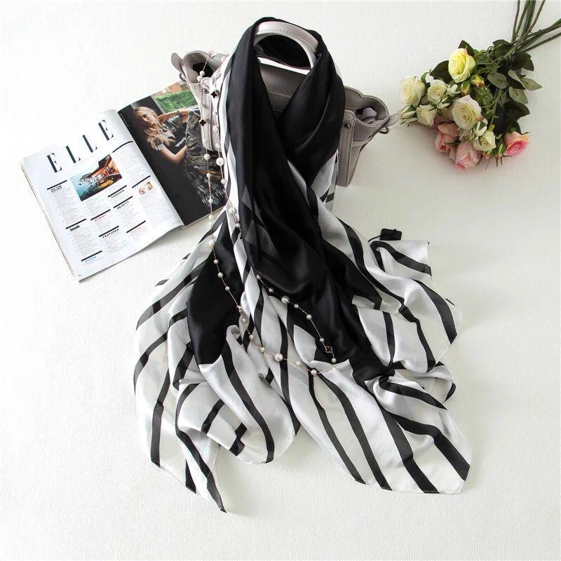 2016 European style summer emulation silk scarf fashion black and white scarf shawl sun beach towel air conditioning cape(China (Mainland))
