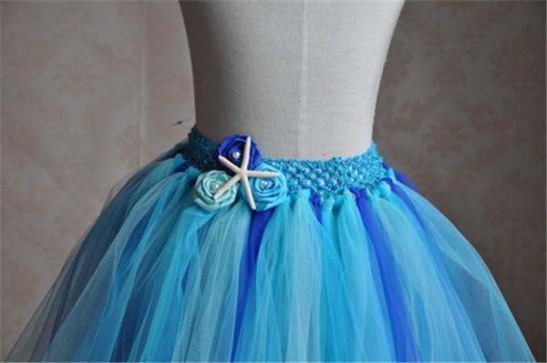 Скидки на Симпатичные синий тюль театрализованное маленьких девочек короткие юбки с морская звезда украшения и искусственный жемчуг