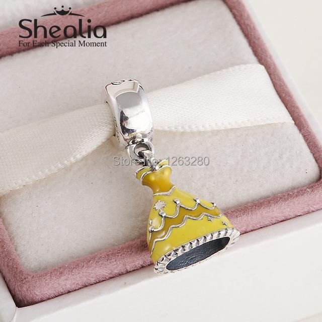 Подходит своими руками браслеты весна belle платье мотаться подвески-талисманы с желтый эмаль 925 чистое серебро ювелирные изделия SH0623