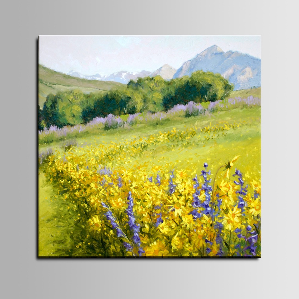 Bedding Set Hand Printed Flower Oil Painting Great Mountain landsacape Springtime for Christmas Gift(China (Mainland))