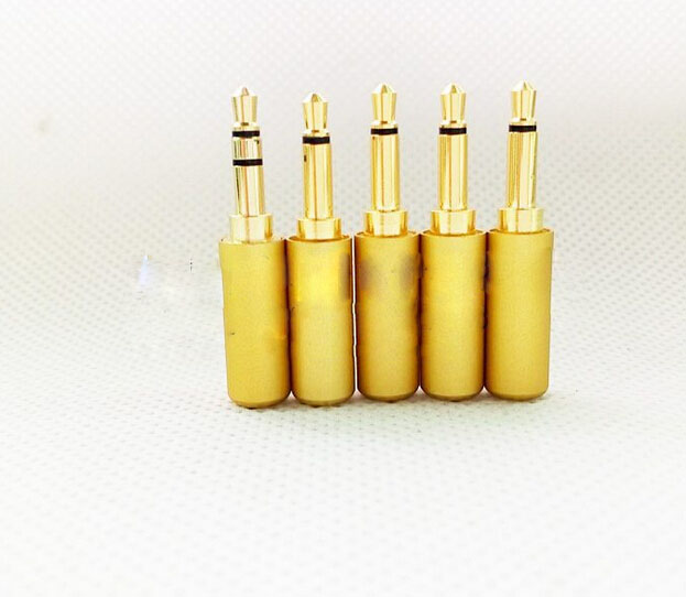 100pcs free shipping Aluminum gold 3.5mm mono Plug for cable Audio Connector<br><br>Aliexpress