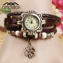 Fashion Watch Hot Selling Women Leather Bracelet Watch Women Dress Watches leaf Flower Butterfly Vintage WristWatch(China (Mainland))