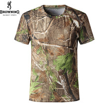 Free Shipping BROWNING Camo T-Shirt for Men Hiking, Camping, Hunting Outdoor Hunting Clothes Quick-drying T-shirts L XL C103