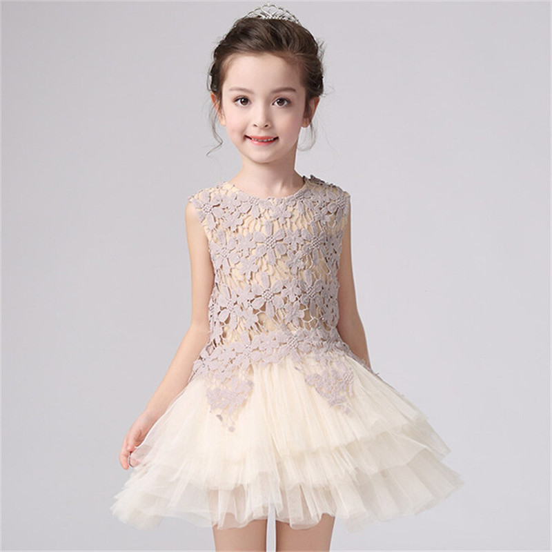 Summer New Baby Girl Dresses Party Sleeveless Patchwork Tutu Princess Lace Flower Dress Wedding Clothing 3~8 years GC06DR - M & W 's Online Store store