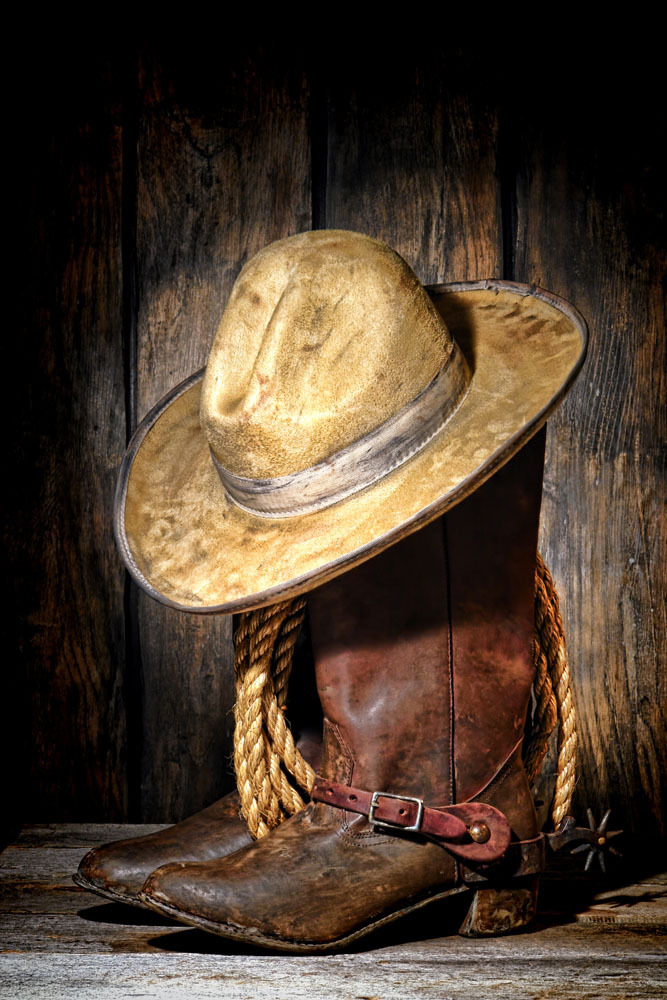 Cowboy boots and hat wallpaper