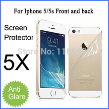 Free shipping for iphone 5 5s matte screen protector front and back with retail package