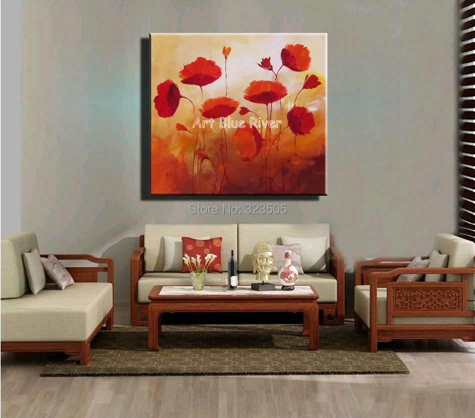 Red Poppy Flower Decorative Kitchen Abstract Handmade Wall Art Canvas Oil Painting On Canvas
