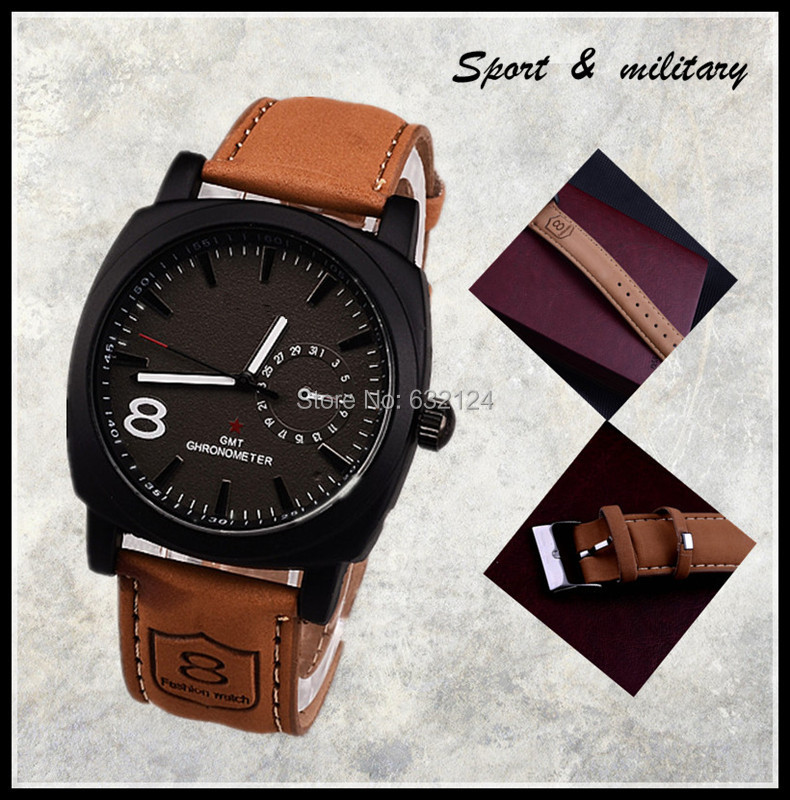 Best Selling Men Sports Military Watches Leather Boyfriend Gift! Fashion Quartz Wristwatch Casual Round Dial Wholesale Relogioes