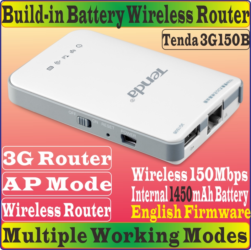 English Firmware Tenda 3G150B Portable 150M Wireless 3G Router 1450mAh battery-powered 3GRouter 150Mbps Travel Beach WiFi Router(China (Mainland))